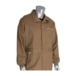 8 Cal FR Dual Cert. 7oz. Coverall, Bug Repel, NFPA 70E & 2112, Tan, Small