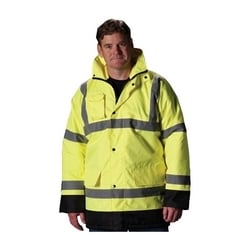 Class 3 Coat, Quilted Insulation, Black Trim, Zip Cl. Hd 2in. Tape, Yellow, Small