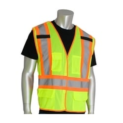 Class 2, Z96 Mesh Breakaway Vest, X Back Hook & Loop Closure Two Tone, Yellow, 5XL