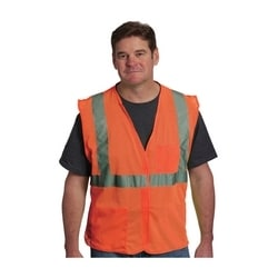 Class 2 Mesh Vest, 2 Pockets, Hook & Loop Closure, 2in. Tape, Orange, XL
