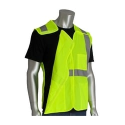Class 2 Solid Breakaway Vest, 3 Pkt Hook & Loop Closure, 2in. Tape, Yellow, Large
