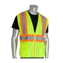 Class 2 Solid Vest, 12 Pockets, Zipper Closure, Two Tone Tape, Yellow, 2X