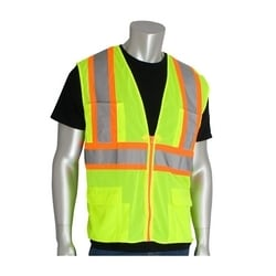 Class 2 Mesh Vest, 12 Pockets, Zipper Closure, Two Tone Tape, Yellow, XL