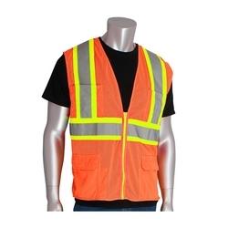 Class 2 Mesh Vest, 12 Pockets, Zipper Closure, Two Tone Tape, Orange, 2X
