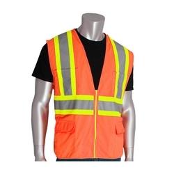 Class 2 Solid Vest, 12 Pockets, Zipper Closure, Two Tone Tape, Orange, Large