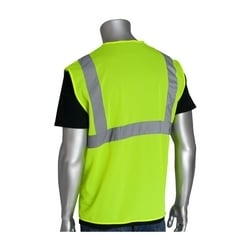 Class 2 Mesh Vest, No Pockets, Hook & Loop Closure, 2in. Tape, Yellow, 3X