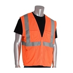 Class 2 Mesh Vest, 4 Pockets, Zipper Closure 2in. Tape, Orange, 2X