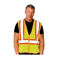 Class 2 Mesh Vest, 2 Pockets, Zipper Closure Two Tone Tape, Yellow, 2X