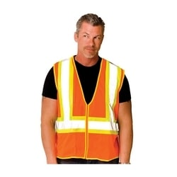 Class 2 Mesh Vest, 2 Pockets, Zipper Closure Two Tone Tape, Orange, Small