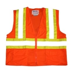 Class 2 Mesh Vest, 6 Pockets Zipper Closure Two Tone Tape, Orange, 3X
