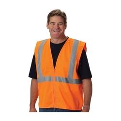 Class 2 Solid Vest, No Pocket, Zipper Closure, 2in. Tape, Orange, 3X