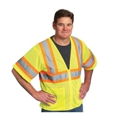 Class 3 Mesh Vest, 2 pockets, Zipper Closure, Two Tone Tape, Yellow, 4X
