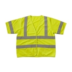 Class 3 Treated Poly, Solid Vest, Hook & Loop Closure, FR Tape, Yellow, 3XL