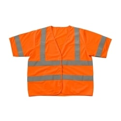 Class 3 Treated Poly, Solid Vest, Hook & Loop Closure, FR Tape, Orange, 5XL