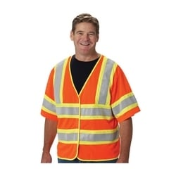 Class 3 Treated Poly, Mesh Vest Hook & Loop Closure, 2 Pocket, FR Tape, Orange, 3XL