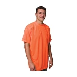 Non-ANSI, Short Sleeve T-shirt, Crew Neck, Chest Pocket, Orange, XL