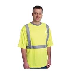 Class 2 Short Sleeve T-shirt, Crew Neck, Chest Pocket, Yellow, Medium