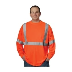 Class 3 Long Sleeve T-shirt, Crew Neck, Chest Pocket, Orange, 3XL