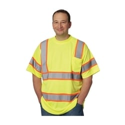 Class 3 Short Sleeve T-shirt, Chest Pocket, Two Tone, Yellow, 3X