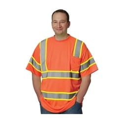 Class 3 Short Sleeve T-shirt, Chest Pocket, Two Tone, Orange, XL