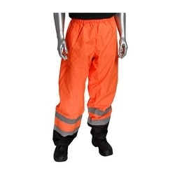 Class E PU Poly Over Pant, Two Pocket, Two Tone with Tape, Orange, Small