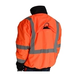 Class 3 Rip Stop Black Trim Bomber Fleece Liner, Zipper, 2in. Tape, Orange, Medium