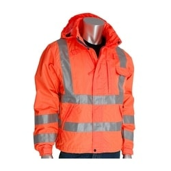 Class 3 Rain Jacket, W/B PU Ctd, D-ring , Zip Cl. Hd. 2in. Tape, Orange, 4XL