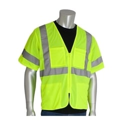Class 3 Mesh Vest, 4 pockets, Zipper Closure, 2in. Tape, Yellow, 3XL