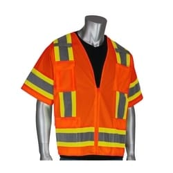 Class 3 Solid/Mesh Vest, Zipper, 6 Pockets, Mic Tab, Two Tone Tape, Orange, 4XL