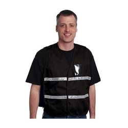 Non-ANSI IC Vest, Black, Poly/Cotton Hook & Loop Closure, 1in. White Gloss Tape, 2XL-3XL