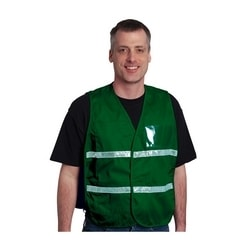 Non-ANSI IC Vest, Kelly Green, Polyester, Hook & Loop Closure, 1in. White Gloss Tape, M-XL