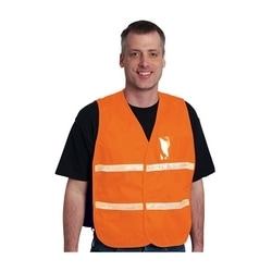 Non-ANSI IC Vest, Orange, Poly/Cotton, Hook & Loop Closure, 1in. White Gloss Tape, 2XL-3XL