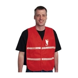 Non-ANSI IC Vest, Red, Polyester, Hook & Loop Closure, 1in. White Gloss Tape, M-XL