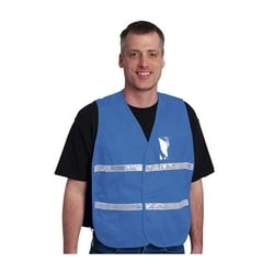 Non-ANSI IC Vest, Light Blue, Poly/Cotton, Hook & Loop Closure, 1in. White Gloss Tape, 2XL-3XL