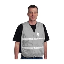 Non-ANSI IC Vest, Gray, Poly/Cotton, Hook & Loop Closure, 1in. White Gloss Tape, M-XL