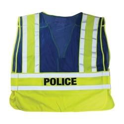 ANSI 207 PSV Vest, Police, Breakaway, Zipper Closure, 2x1in. Reflec. Blue, XL