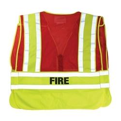 ANSI 207 PSV Vest, Fire, Breakaway Zipper Closure, 2x1in. Reflec. Red, XL