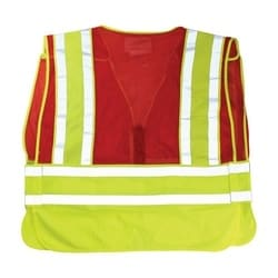 ANSI 207 PSV Vest, No Logo, Breakaway, Zipper Closure, 2x1in. Reflec. Red, 5XL