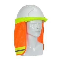 EZ-Cool Hard Hat Neck Shade, FR Treated, Refl Tape, Elastic, YEL, Large