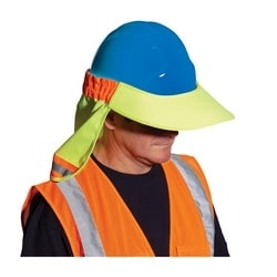 EZ-Cool Hard Hat Visor, Elastic Back, Reflective Tape, Hi Vis Yellow, Large