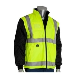 Class 3 Coat 7in1, Insulated Inner Jacket, Zip. Cl. Hd, 2in. Tape, Yellow, 4XL