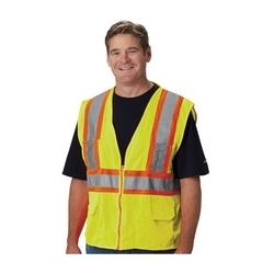 Class 2 Mesh Vest, 12 Pockets, Zipper Closure, Two Tone Tape, Yellow, 3X