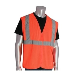 Class 2 Mesh Vest, No Pockets, Hook & Loop Closure, 2in. Tape, Orange, 4X