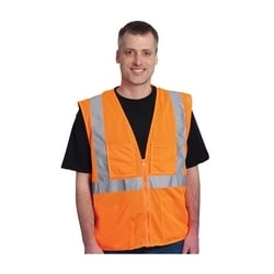 Class 2 Mesh Vest, 4 Pockets, Zipper Closure 2in. Tape, Orange, Large