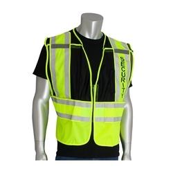 ANSI 207 PSV Vest, Security, Breakaway, Zipper Closure, 2x1in. Reflec. Black, 5XL