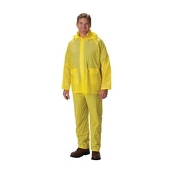 Rainsuit .10mm Single Ply PVC, Yellow, Self Collar, Elastic Pant, 4XL