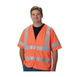 Class 3 Treated Poly, Solid Vest, Hook & Loop Closure, FR Tape, Orange, 3XL