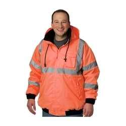 Class 3 Bomber Jacket, Zip-out Fleece Liner, Zipper, 2in. Tape, Orange, 5XL