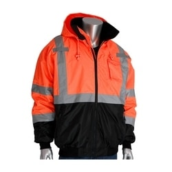 Class 3 Bomber Black Trim, Zip-out Fleece Liner, Zipper, 2in. Tape, Orange, 6XL