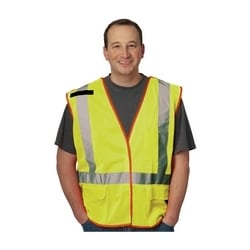 Class 2, Z96 Mesh Breakaway Vest, X Back Hook & Loop Closure 2in. Tape, Yellow, Medium